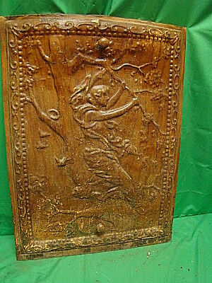 Antique Late 1800's Tin Ornate Summer Fireplace Cover Cherub In A Tree  Dhf