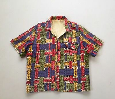 Vintage Mens 50s 60s Tiki Terry Cloth Towel Shirt Large Beach Cover up Surf VLV