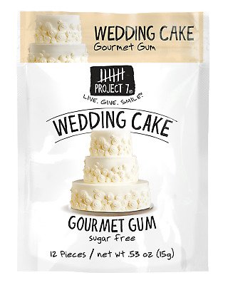 (3) Gourmet GUM Project 7 WEDDING CAKE Sugar Free 12 pieces (36 Pieces total)