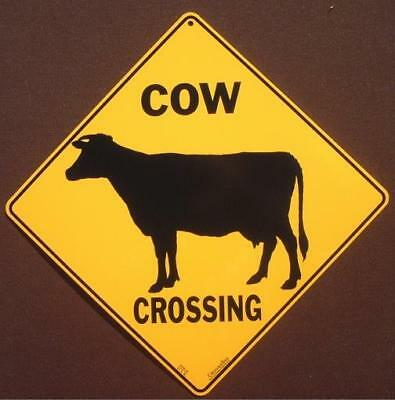 COW CROSSING SIGN silhouette aluminum farm decor cows dairy novelty animals