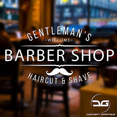 Gentleman's Barber Shop Window Wall Door Hair Salon Vinyl Decal Sticker Sign