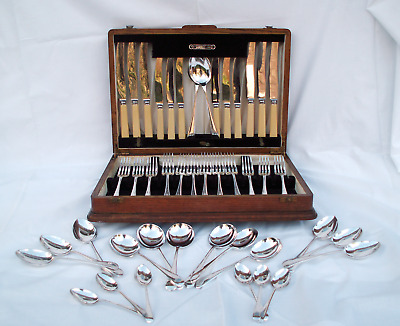Viners 6 Place EPNS Silver Plated Cutlery in Solid Oak (Surrey) Canteen