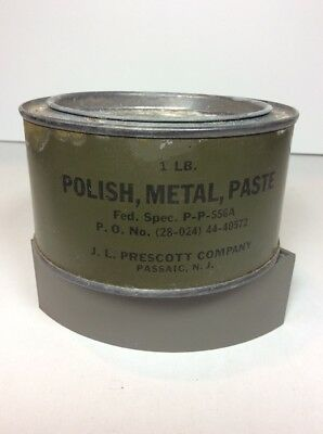 1944 WWII Polish Metal Paste JL Prescott MILITARY SURPLUS GREEN TIN CAN NEW NOS2