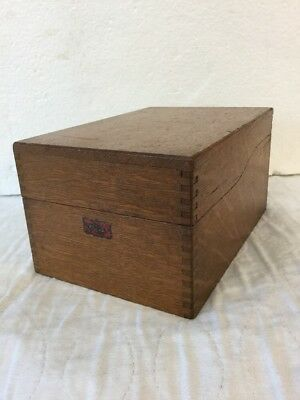 Great Antique Small Weis Oak Desktop Single File Box Index Card Recipe Size FINE