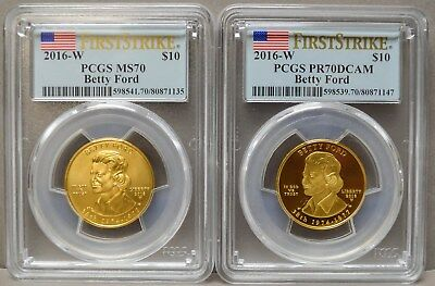 2016-W $10 Betty Ford 2pc. Set MS70 PR70 DCAM First Strike PCGS