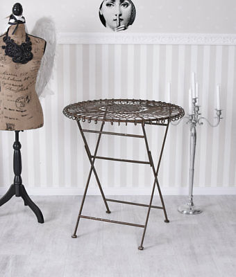 Garden Table Shabby Chic Iron Table Metal Table Vintage Garden Drop-Leaf Table