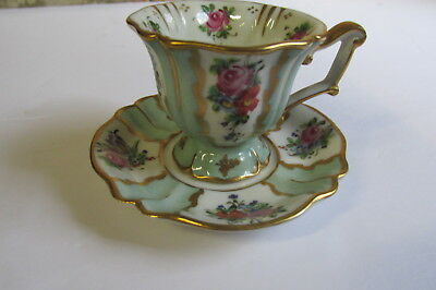 Sevres Hand Painted Demi Chocolate Cup and Saucer