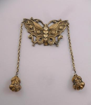 Antique 19thc Chinese Silver Butterfly Flower Bells Attached From Chatelaine