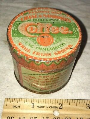 Antique Free Sample Chase Sanborn Coffee Tin Litho Can Vintage Country Store Old