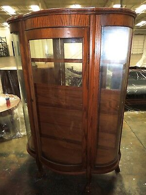 Gorgeous Antique 19th Century Triple Bow Front China Curio Cabinet Curved Glass