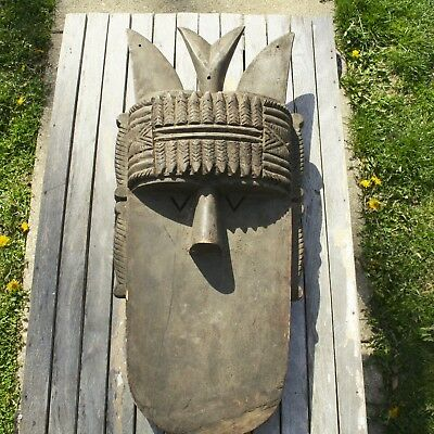 Tribal African Carved Wood Helmet Mask 27''x 11''