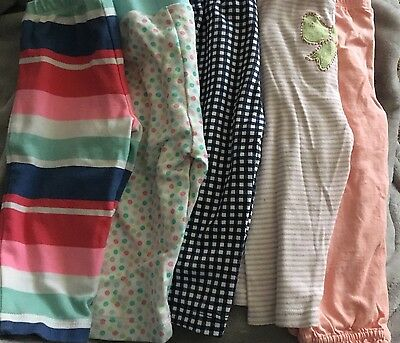 Baby Girl Pants Lot Of 5, Size 6 Months, Carters & Gerber