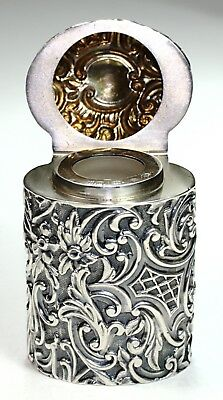 Antique English Sterling Silver Container~Ornate~H Matthews 1893 Birmingham