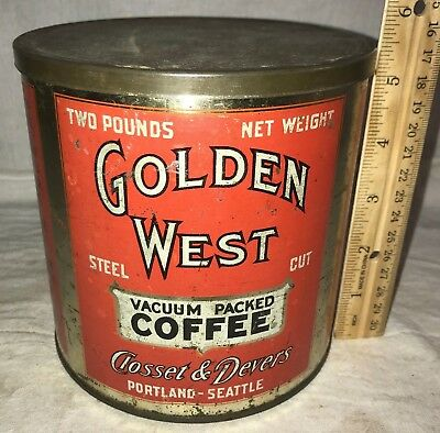 Antique Golden West Coffee 2Lb Tin Litho Can Portland Or Seattle Wa Grocery Old