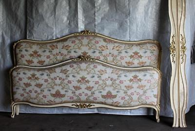 VINTAGE FRENCH CAPITONNE BED 200CM WIDE UPHOLSTERED ANTIQUE from The Ritz, Paris