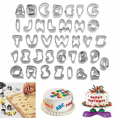 37pcs Stainless Steel Alphabet Letter Cookie Cutters Biscuit Cake Decor Moluds J