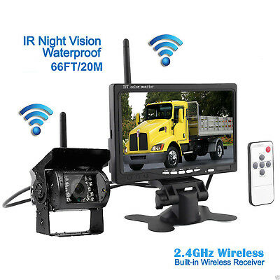 """7"""" Monitor + Wireless Rear View Backup Camera Night Vision for RV Truck Bus HOT"""