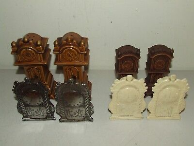 Vintage Lot 4 Sets of Grandfather Mantel Clock Style S&P Salt & Pepper Shakers