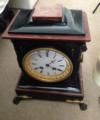 Antique French Oak Mantel Clock Lion Head Bronze Mounts