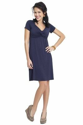 Milk Nursingwear Breastfeeding Maternity Twist Front Dress, size M Navy Spring