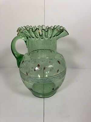 "1800s Green Hand Painted Floral Victorian Pitcher 9.5"" Tall"