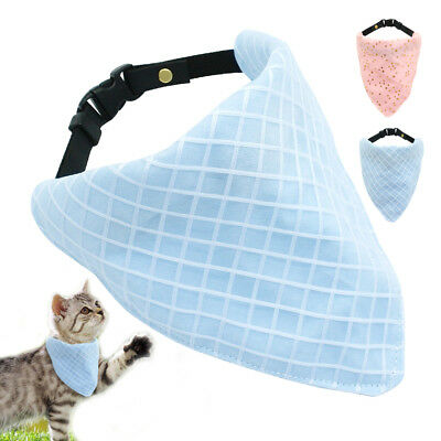 Soft Cotton Dog Bandana Collars Kitten Neck Scarf Neckerchief  Pink Blue 8-15""