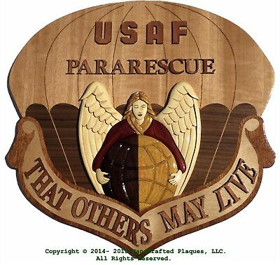 USAF PARARESCUE EMBLEM WOOD ART PLAQUE - Handcrafted Wood Art Air Force Plaque