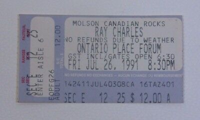 Ray Chales at the Ontario Place Forum Ticket Stub 1991 RARE Concert Collectible
