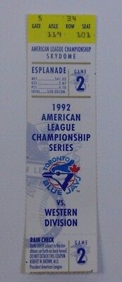 1992 American League Championship Series Game 2 Ticket Stub Baseball Collectible