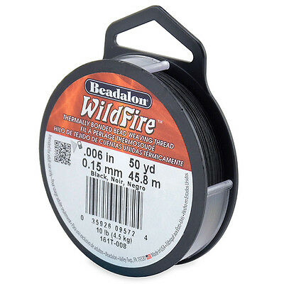 Beadalon Wildfire Beading Thread Frost/Black .006 in (.15 mm), 50 yd (45 meters)