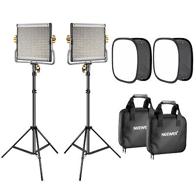 Neewer 2-Pack Dimmable 480 LED Video Light Panel Lighting Kit with Light Stand