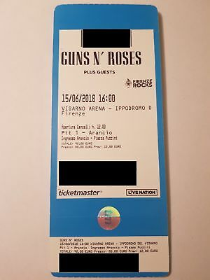 Introvabili!!! Guns N Roses Firenze 1 Biglietto Pit1 Ticket (15/06/18) Sold Out