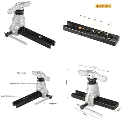 """Eccentric Cone Type Tube Flaring Tool kit 1/4""""-3/4"""" Tubing 6 Dies Sizes 45°Angle"""
