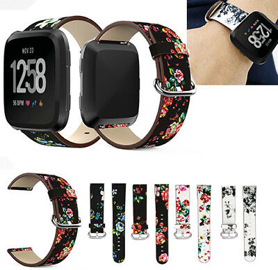 New For Fitbit Versa Leather peony Print Replace Watch Wrist band Bracelet Strap