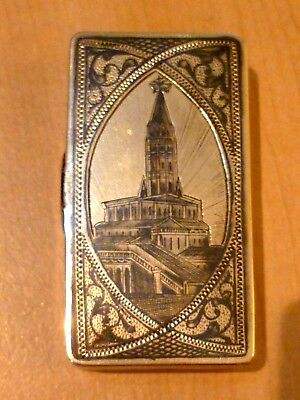 Stunning Antique Russian Gilded Solid Silver Niello Snuff Box Moscow 1880