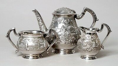 Stunning Beautiful Quality Heavy Antique Indian Solid Silver Tea Set, 1037 Grams
