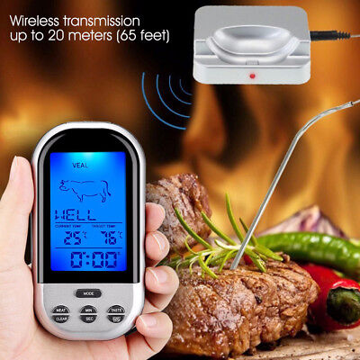 Digital Wireless Remote Smoker Cooking Food Meat Thermometer for BBQ With LCD