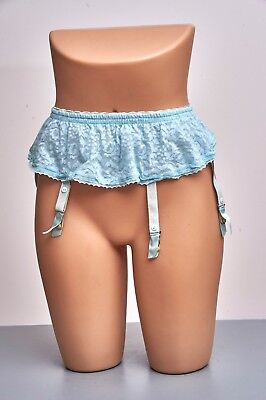 "LOOK! Vintage Sixties French BOLERO Blue Lace Suspender Belt 4 Garter 22""-27"""