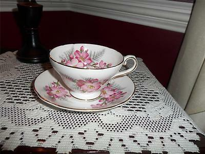 Staffordshire Fine Bone China England Tea Cup And Saucer Duo Pink Flowers
