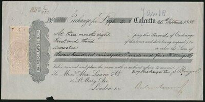 India: 1888 £796-5-0 2nd Exchange Payable in London, with 2 Rupee Revenue stamp