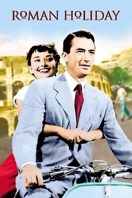 "Roman Holiday Silk Fabric Movie Poster 24""x36"" 11""x17"" AUDREY HEPBURN Vintage"