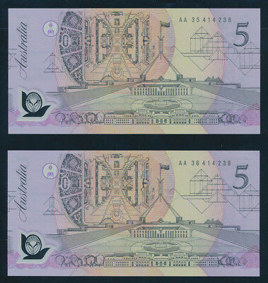 Australia: 1992 $5 Fraser-Cole UNC CONSECUTIVE PREFIX PAIR with SAME SERIAL NO.
