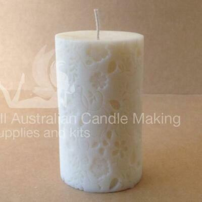 Pillar with flowers (5.5 x 9cm tall) Silicon Candle Mould