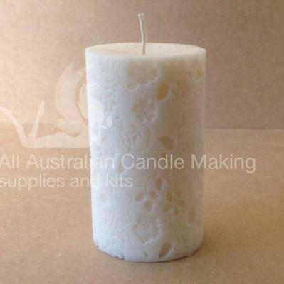 Pillar with flowers (6.5 X 9cm tall) Silicon Candle Mould