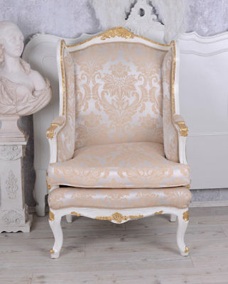 Wingchair baroque antique armchair Shabby chic gilt Louis XV carved BERGÈRE