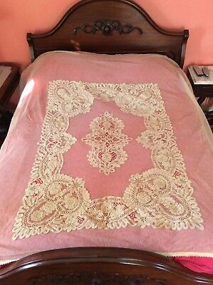 Vintage French Tambour Lace Bedspread Extreme Crochet Embroidered Flowers #2