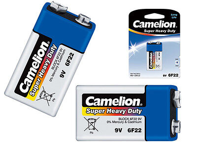 6 x Camelion Battery 9V Block 6 F22 6LR61 MN1604 Super Heavy Duty Blue Set