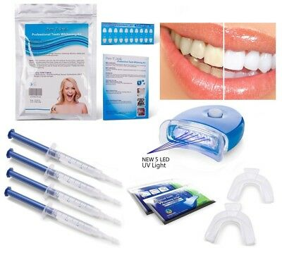 WHITE Home Teeth Whitening Kit Gel LED Light Bleaching Laser Strips Mouth Tray