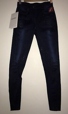 New Montar Thea Full Seat Silicon Navy Denim Breeches Size 34 (UK 6) Ladies