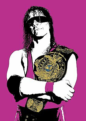 Bret Hart Heavyweight Champion Print Retro Wrestling Poster WWF Hologramed